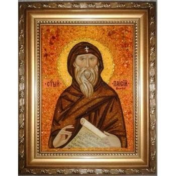 Паисий Великий - Качественная именная икона из янтаря (ари-028)