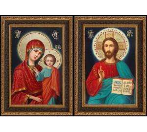 Пара икон для венчания Спас на престоле и Божья Матерь - писаные иконы (Ир-21)