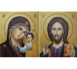 Пара икон Спаситель и Казанская Богородица - изумительные венчальные иконы (Гр-15)