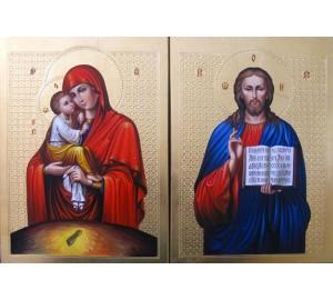 Пара ікон Спаситель і Почаївська Богородиця - блискучі ікони для вінчання (Гр-30)