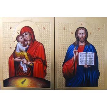 Пара икон Спаситель и Почаевская Богородица - блистательные иконы для венчания (Гр-30)