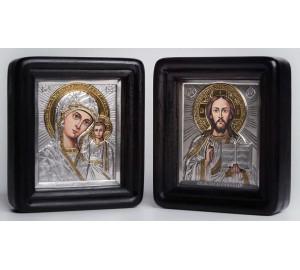 Пара писаных икон для свадьбы Казанская Божья Матерь и Спаситель - иконы в окладе с серебром (Хм-01)