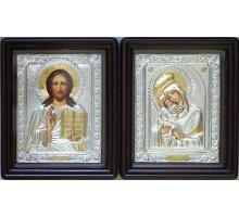 Пара писаных икон для свадьбы Почаевская Божья Матерь и Господь - иконы с серебром (Хм-14)