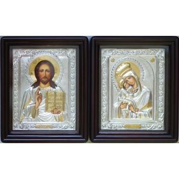 Пара писаних ікон для весілля Почаївська Мати Божа і Господь - ікони з сріблом (Хм-14)