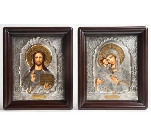 Пара писаных икон для свадьбы Владимирская Божья Матерь и Господь - иконы с серебром (Хм-12)