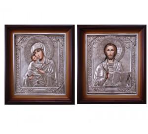 Пара писаних ікон для весілля Володимирська Божа Матір і Спаситель - витончені ікони в окладі з сріблом (Гр-33)