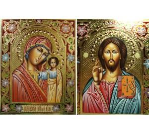 Пара вінчальних ікон Спаситель і Казанська Богородиця - блискучі ікони для вінчання (Гр-25)