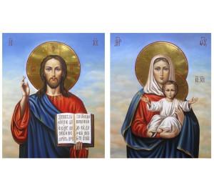 Пара венчальных икон Спаситель и Леушинская Богородица - великолепные писаные иконы (Гр-08)