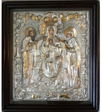 Печерская икона Божьей Матери - Писаная икона в серебряном окладе (хм-06)