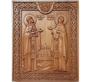 Петр и Феврония - икона из дерева с резьбой (ДВ-ПФ)
