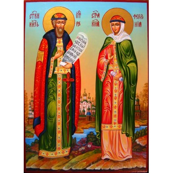 Петр и Феврония, покровители семьи - писаная икона (гр-48)