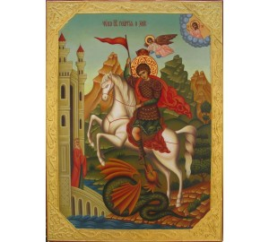 Писаная икона Георгия Победоносца (гр-72)