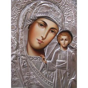 Писаная икона Казанская Божья Матерь с серебряным окладом (Гр-14)