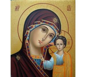 Писаная икона Казанская Божья Матерь, византийский стиль (Гр-17)