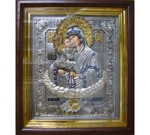 Ікона писана Почаївська Божа Матір - ікона з сріблом (ЮО/Гр-07)