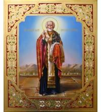 Писаная икона с камнями Сваровски Святой Николай Чудотворец (Гр-35)