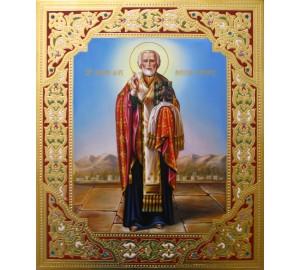 Ікона писана з камінням Сваровські Святий Микола Чудотворець (Гр-35)