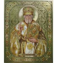 Писаная Икона с камнями Сваровски Святой Николай (Дм-03)