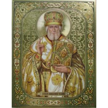 Ікона писана з камінням Сваровські Святий Миколай (Дм-03)