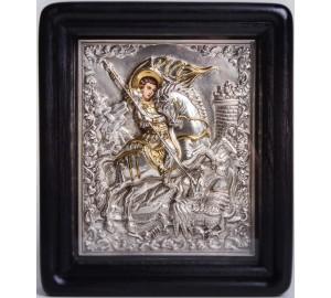 Ікона писана з сріблом і позолотою Чудо Георгія про змія (Хм-45)