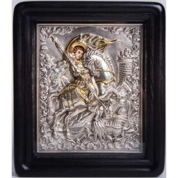 Писаная икона с серебром и позолотой Чудо Георгия о змие (Хм-45)