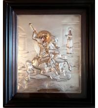 Писаная икона с серебром и позолотой Георгий Победоносец (Хм-03)