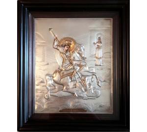 Ікона писана з сріблом і позолотою Георгій Побідоносець (Хм-03)