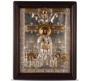 Писаная икона с серебром Святой Александр Невский (хм-31)