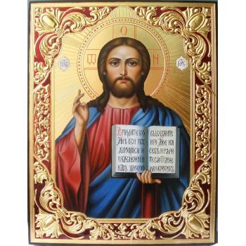 Писаная икона с сусальным золотом Спас Вседержитель (ВЧ-05)