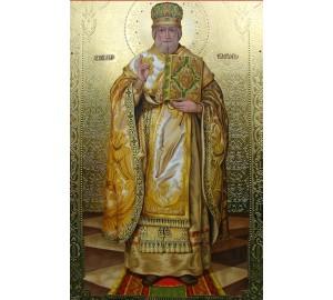 Писаная Икона с сусальным золотом Святой Николай (Дм-15)