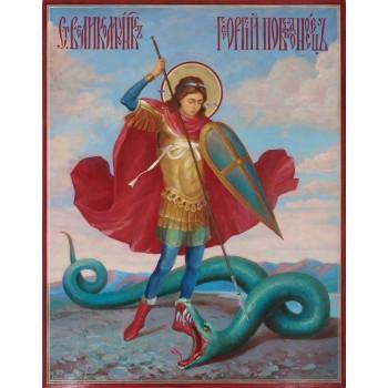 Писаная икона святого Георгия Победоносца (Ир-42)