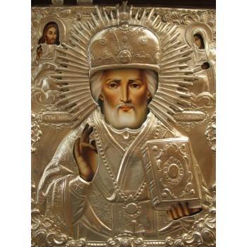 Писана ікона Святого Миколая Чудотворця в окладі з сріблом (Гр-79)