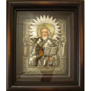 Писаная икона Святого Николая в окладе с серебром (Гр-73)