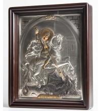 Писаная икона в окладе с серебром и позолотой Георгий Победоносец (Хм-43)