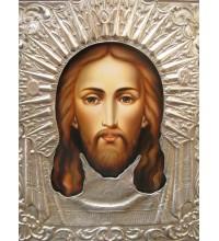 Писаная икона в серебряном окладе Спас Нерукотворный (Гр-12)