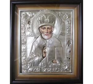 Писаная икона в великолепном окладе с серебром Святой Николай Чудотворец (Гр-41)