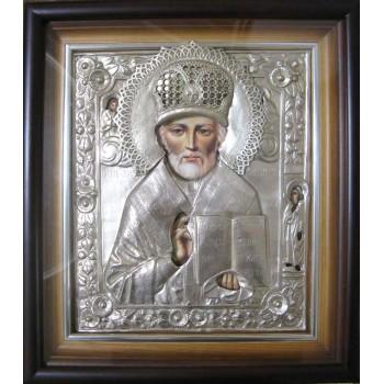 Ікона писана в чудовому окладі з сріблом Святий Микола Чудотворець (Гр-41)