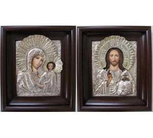 Писаные иконы для свадьбы Казанская Божья Матерь и Господь Вседержитель - иконы с серебром и позолотой (Гр-59)