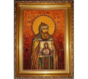 Платон Студийский - Именная икона из янтаря (ар-153)