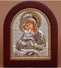 Почаевская Божья Матерь - Икона арочной формы с серебром и позолотой (GOLD)