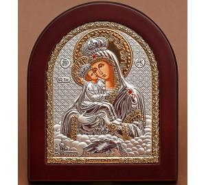 Почаївська Божа Матір - Ікона арочної форми з сріблом та позолотою (GOLD)