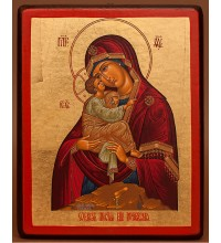 Почаевская Божья Матерь - икона на дереве с сусальным золотом (E1 - Почаевская)