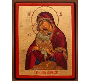 Почаївська Божа Матір - ікона на дереві з сусальним золотом (E1 - Почаївська)