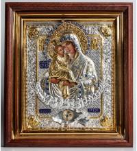 Почаевская Божья Матерь - икона с серебром, дубовый киот (ЮЛ-07)