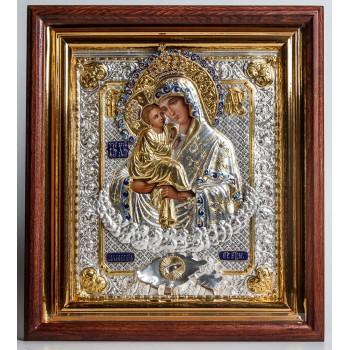 Почаївська Божа Матір - ікона з сріблом, дубовий кіот (ЮО-07)