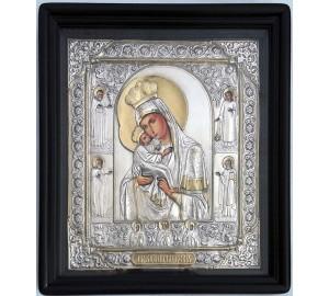 Почаевская икона Пресвятой Богородицы - писаная икона, с серебром (хм-57)