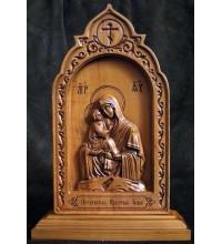 Почаевская икона Пресвятой Богородицы - резная икона из дерева (ДВ-12)
