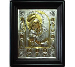 Почаевская икона в окладе с серебром и позолотой, писаная икона (Хм-69)