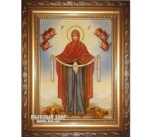 Покрова - икона Божьей Матери из янтаря (ар-201)