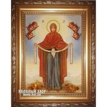 Покрова - ікона Божої Матері з бурштину (ар-201)